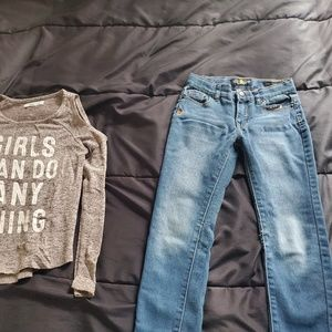 girl Lucky Brand jegging size 6 & gray top